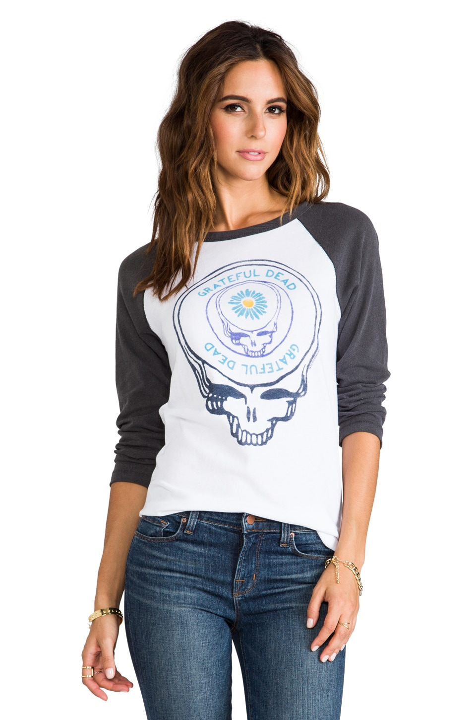 Junk Food Grateful Dead Raglan in White/Black Wash