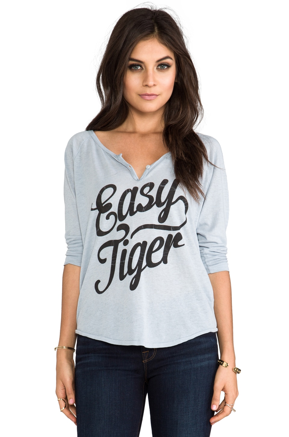 Junk Food Easy Tiger Henley in Lunar Rock
