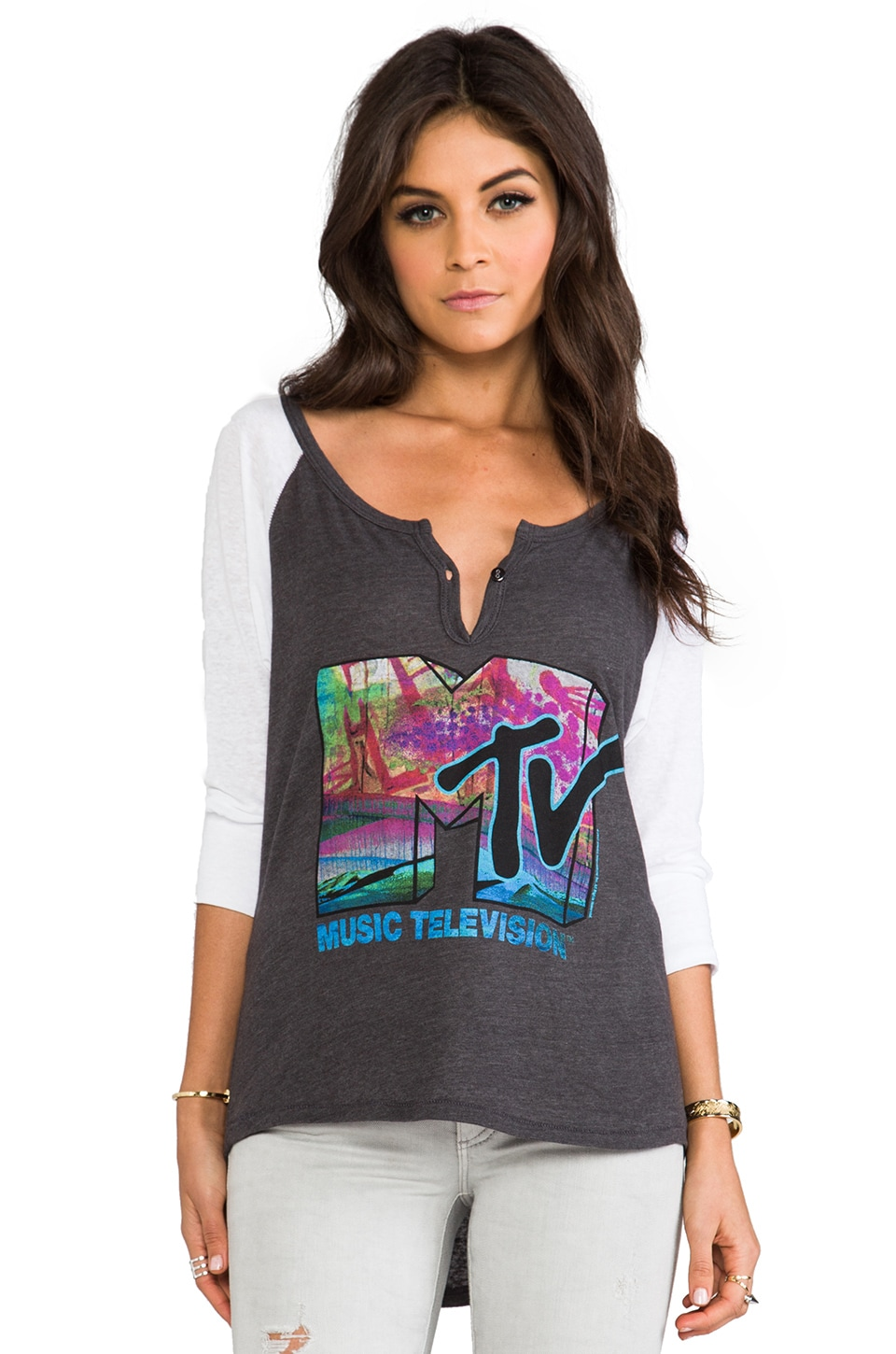 Junk Food MTV Harvard Henley in Black Wash & Electric White