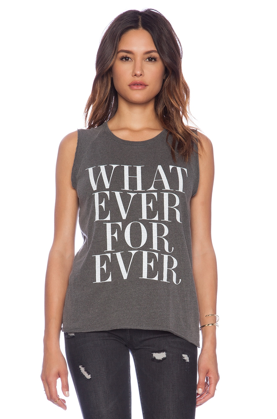Junk Food Whatever Forever Muscle Tee in Pepper