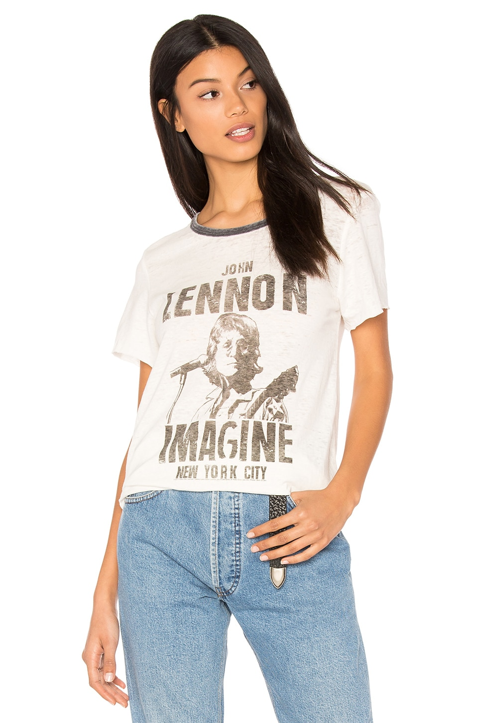 Junk Food John Lennon Imagine Tee in Tusk & Pepper