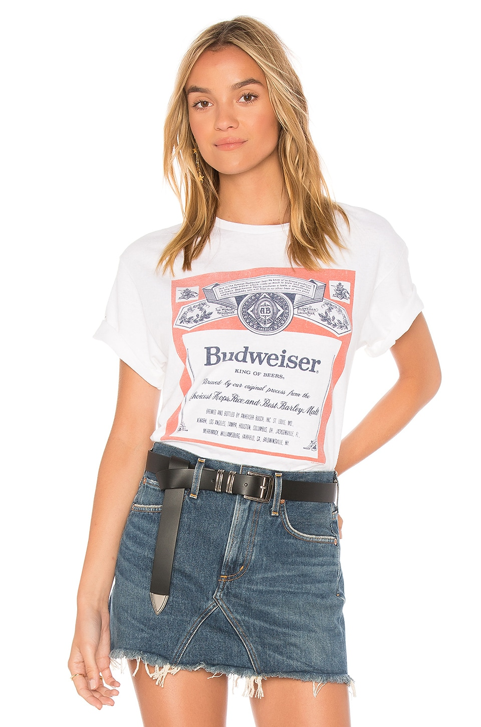 Junk Food Budweiser Label Tee in White