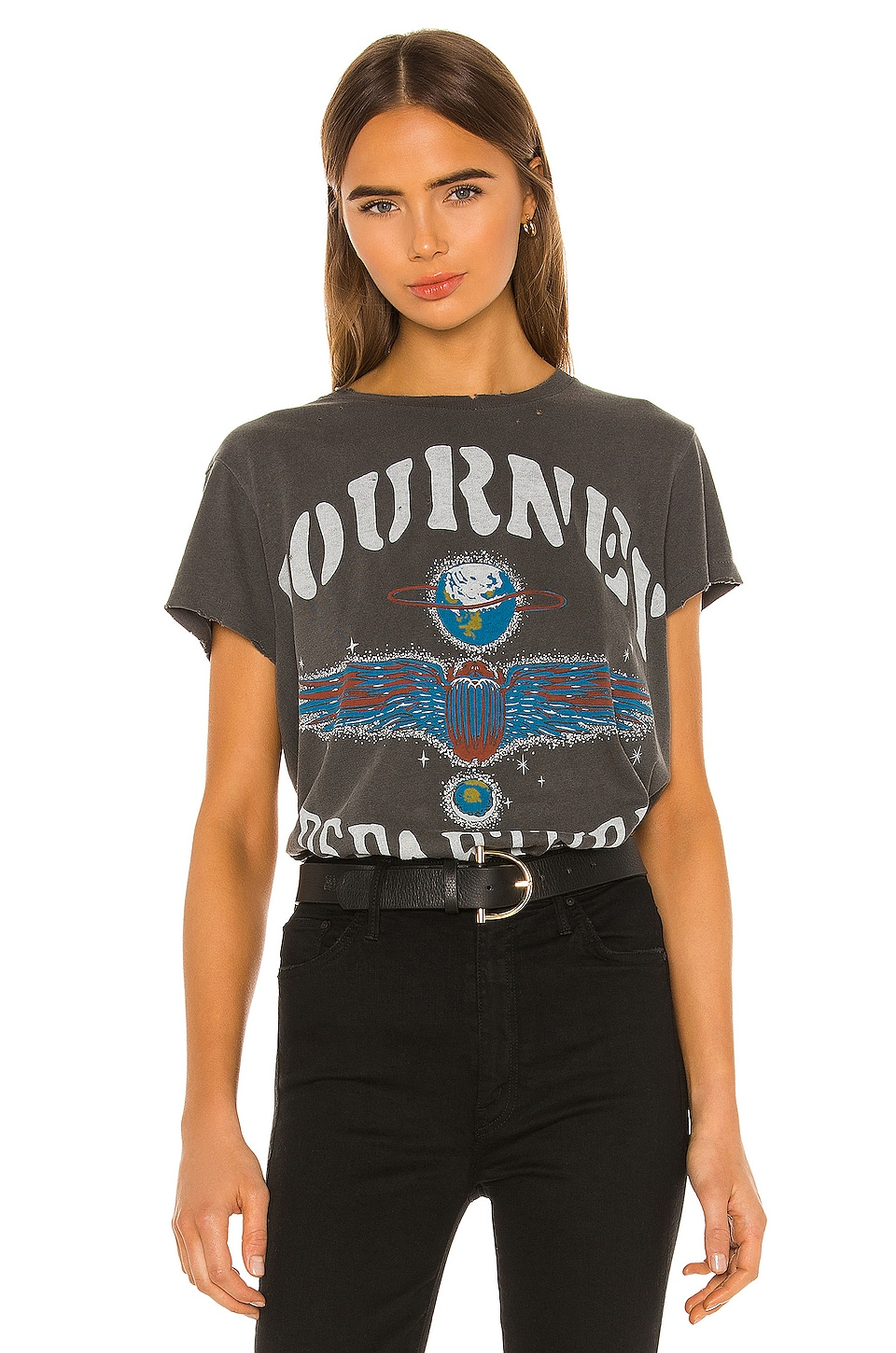 Junk Food Journey Departure Vintage Destroyed Tee in Vintage Black Pigment Dyed