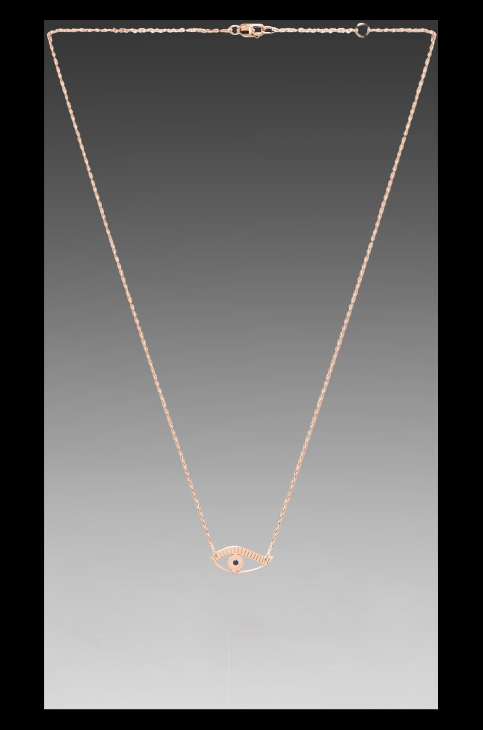 Jennifer Zeuner Evil Eye Necklace in Rosegold