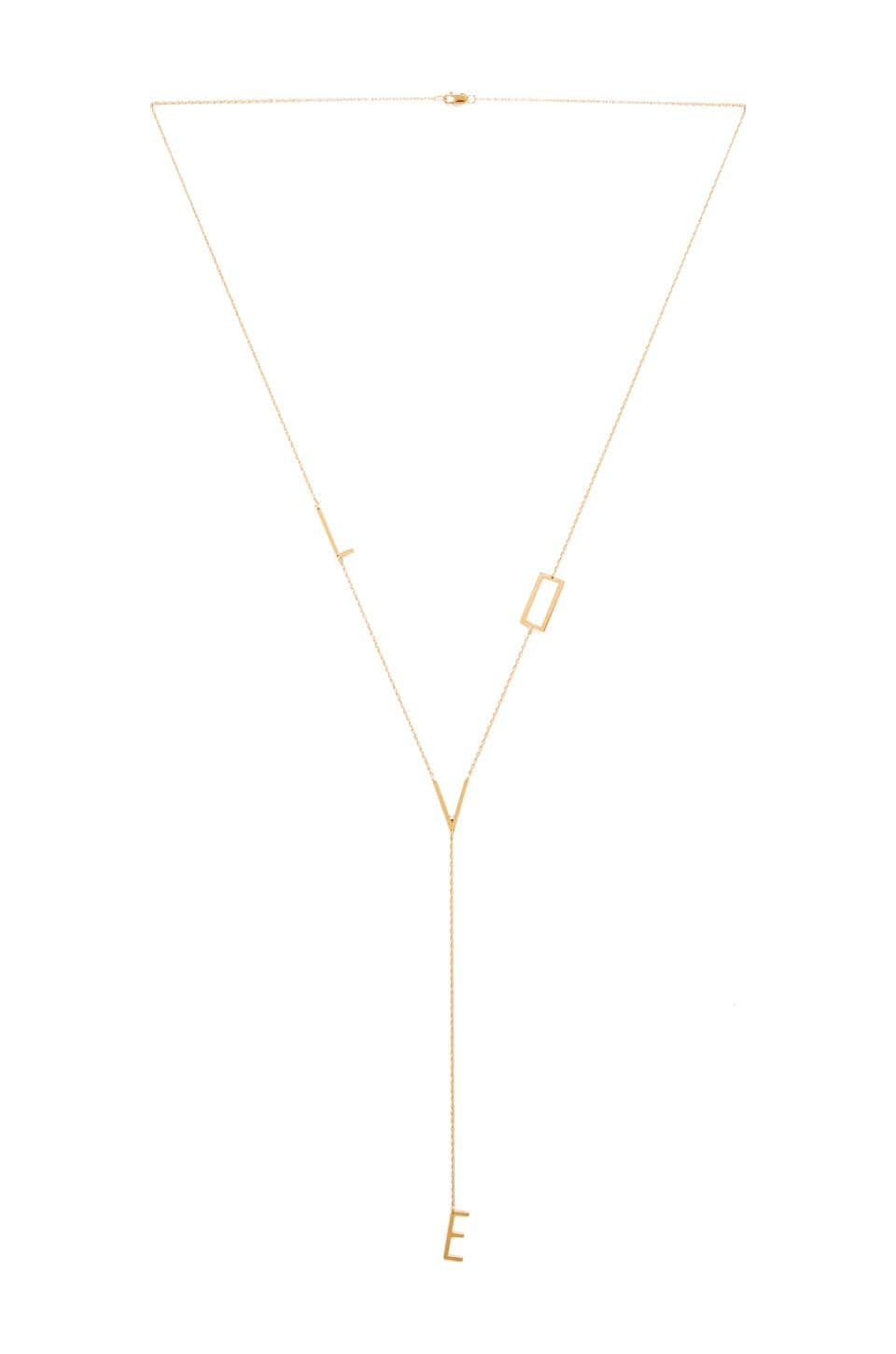 Jennifer Zeuner Love Lariat Necklace in Yellow