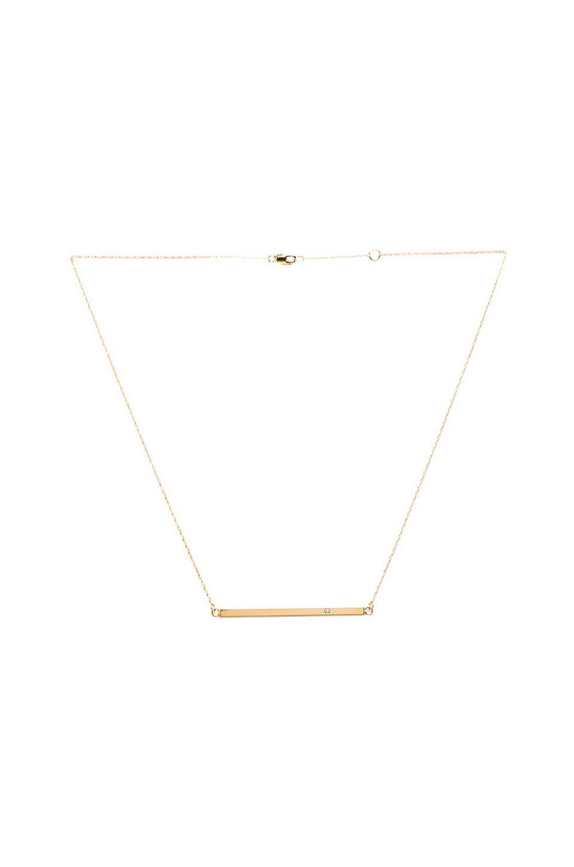 Jennifer Zeuner Horizontal Bar Necklace with Diamond in Yellow Vermeil