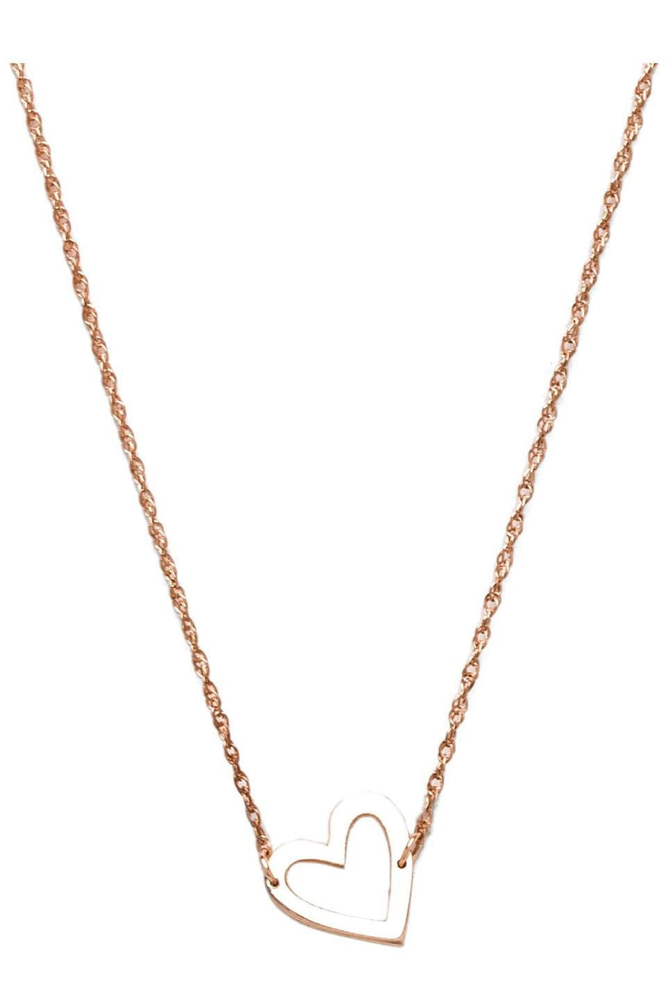 Jennifer Zeuner Open Heart Necklace in Rose Vermeil
