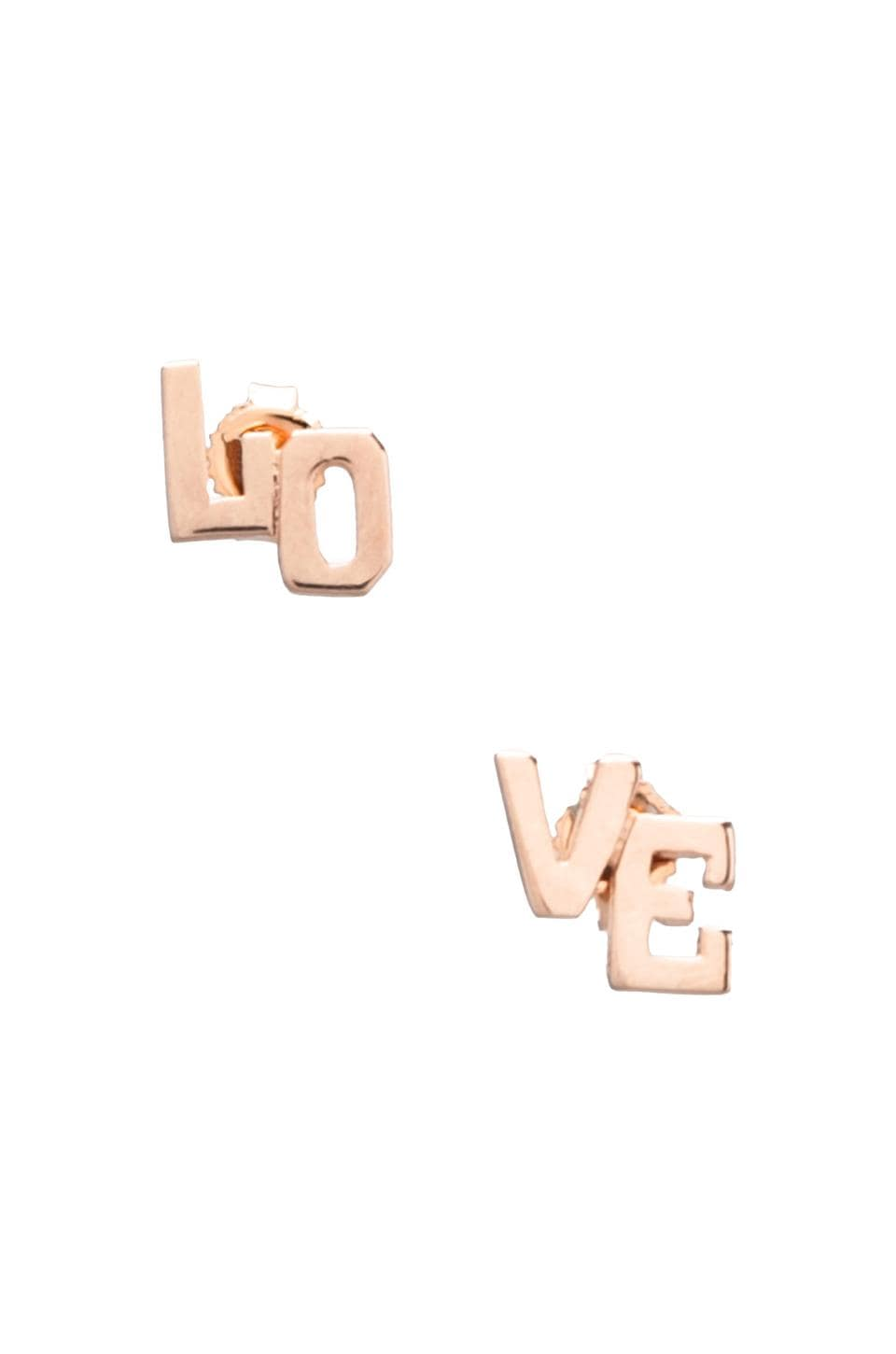 Jennifer Zeuner LOVE Earrings in Rosegold