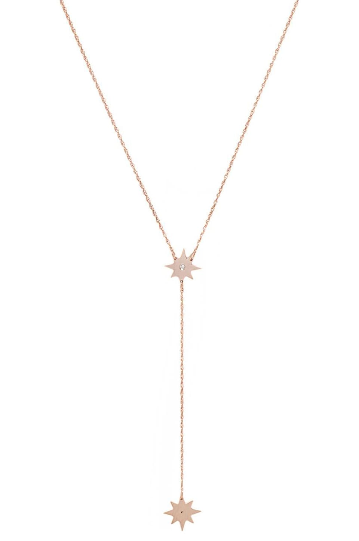 Jennifer Zeuner Gia Mini Lariat Necklace in Rose Vermeil