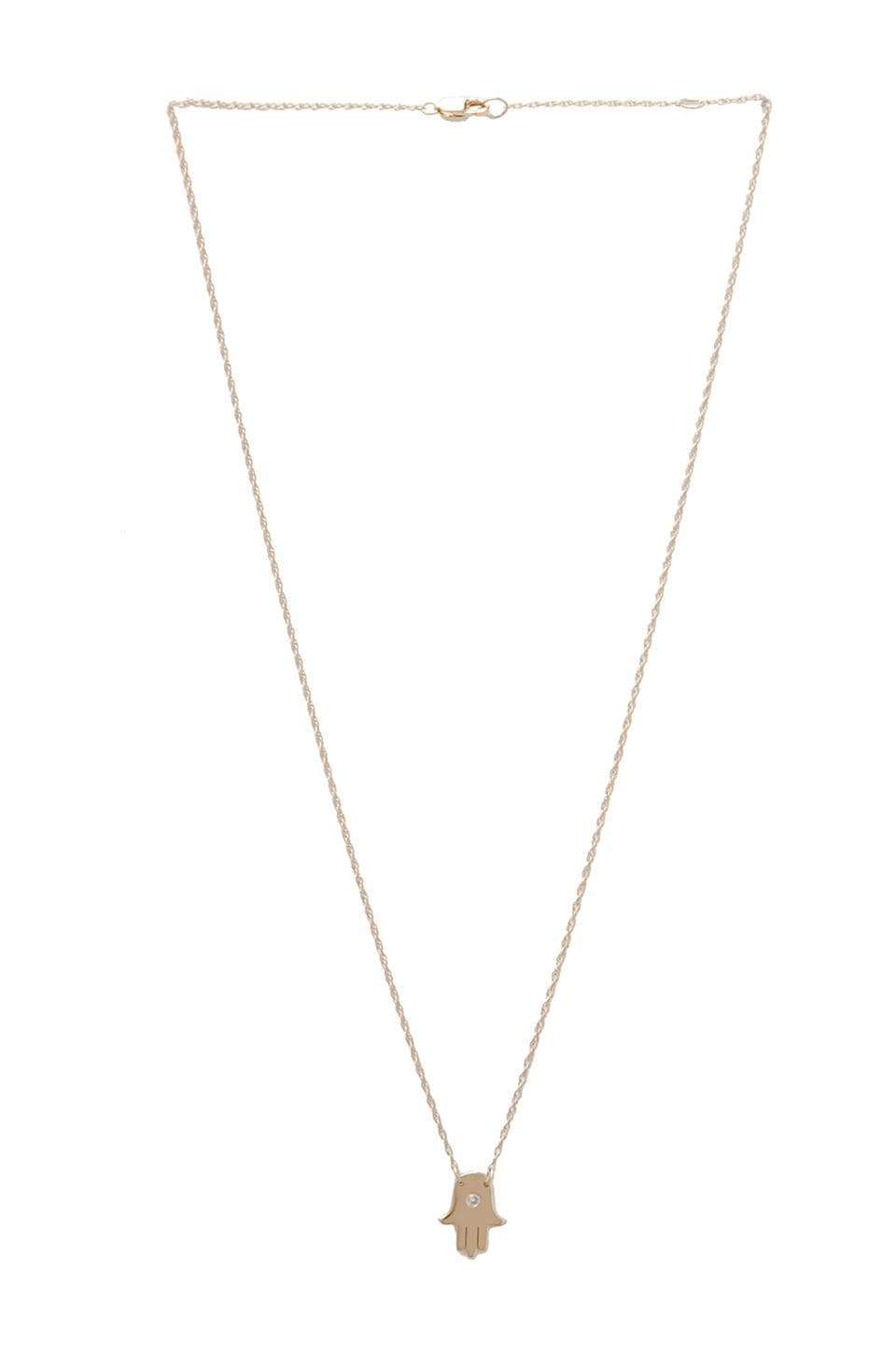 Jennifer Zeuner Hamsa Necklace in Gold