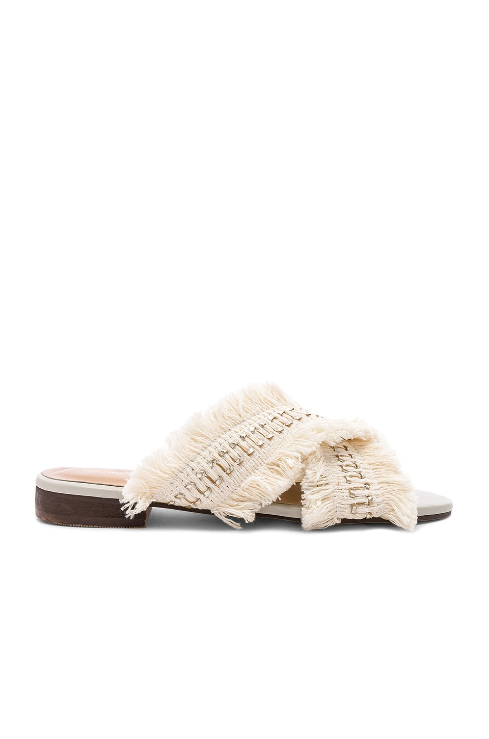 Kaanas Ibiza Frayed Multi Slide in Ivory