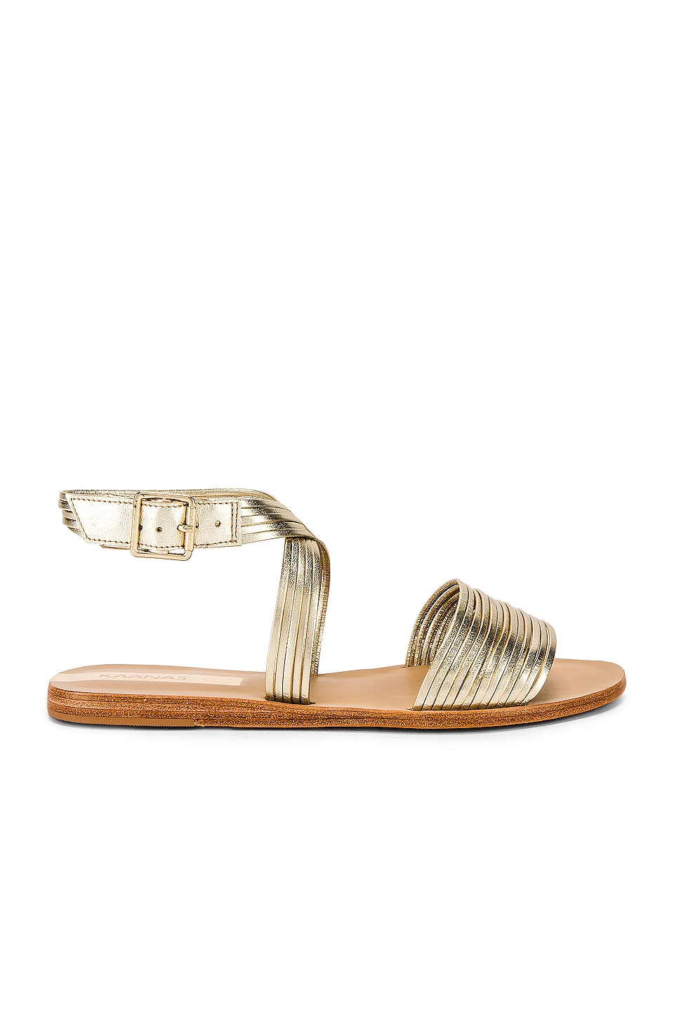 Kaanas Copacabana Strappy Ankle Wrap Sandal in Gold