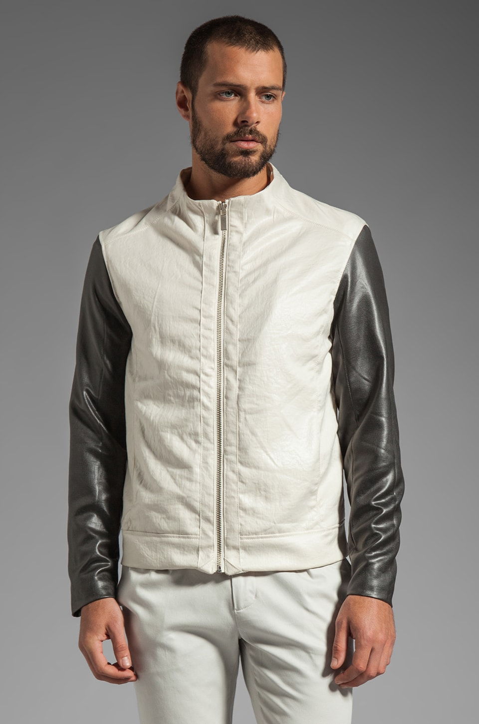 Kai-aakmann Waxed Poly Jacket in Cream