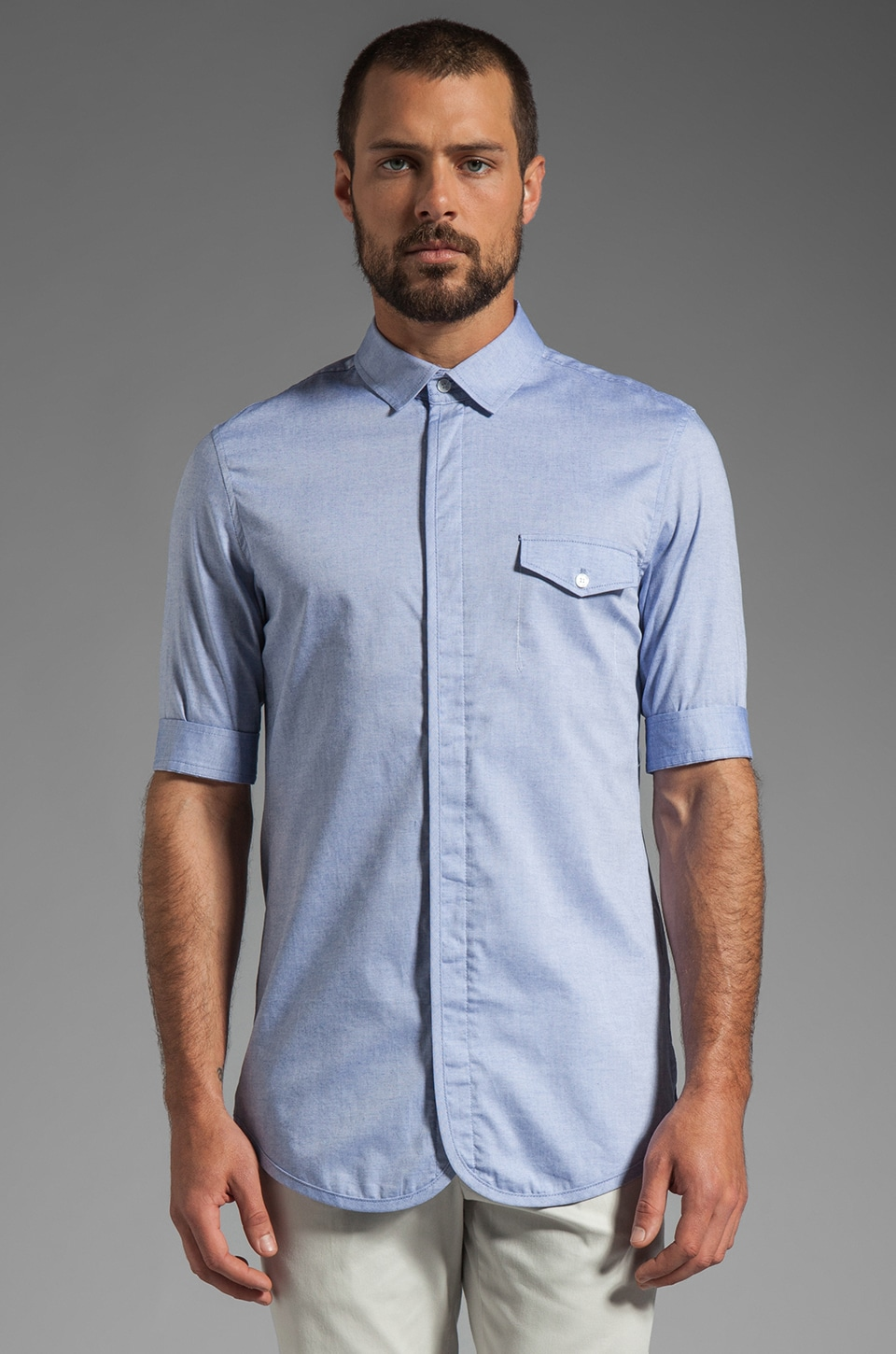 Kai-aakmann S/S Blocked Button Up in Blue