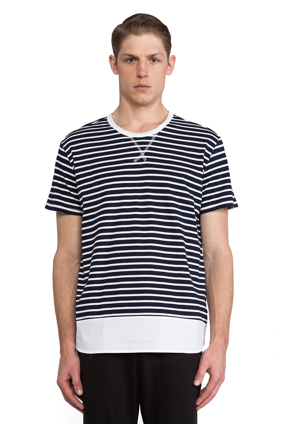 Kai-aakmann Stripe Tee in Navy