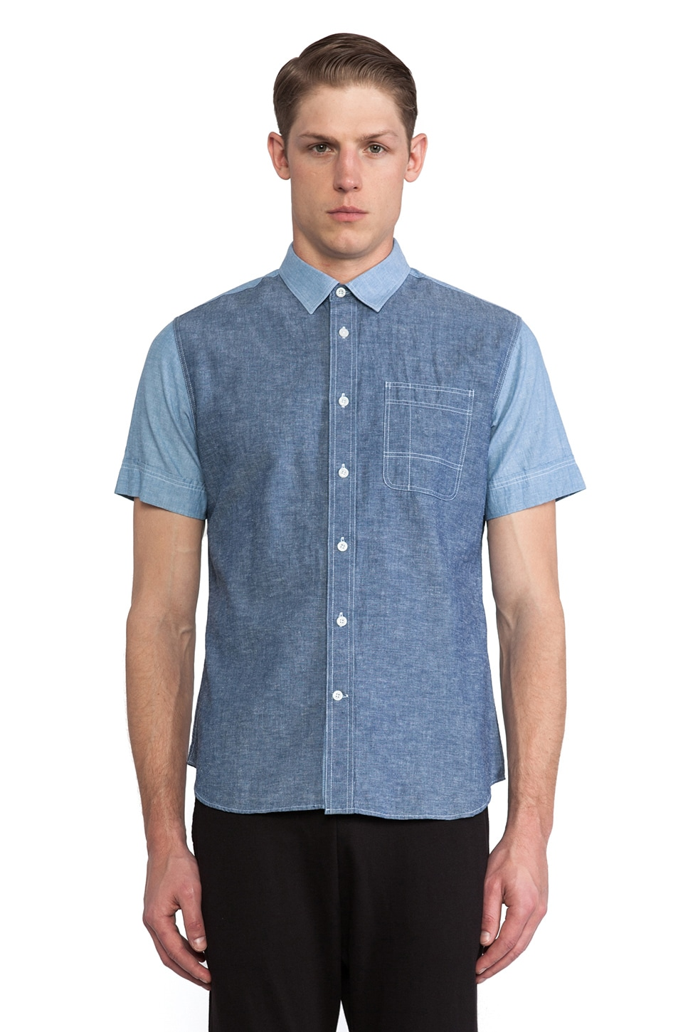 Kai-aakmann Short Sleeve Button Down in Navy