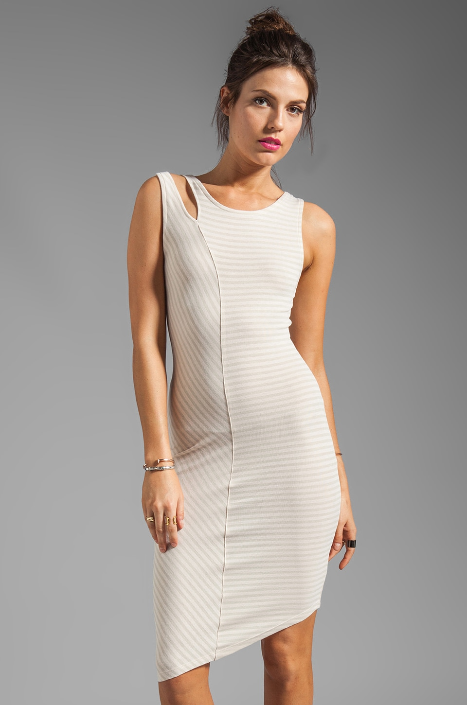 Kain Cabana Dress in Fog/White Stripe