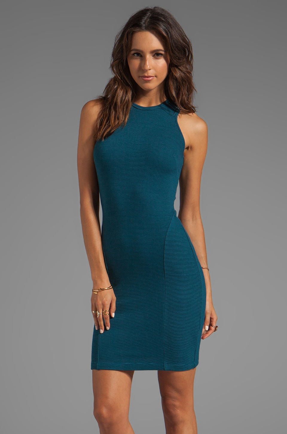 Kain Mini Rib Winona Dress in Dark Turquoise