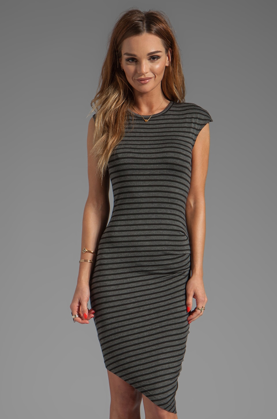 Kain Mays Dress in Charcoal/Black Stripe