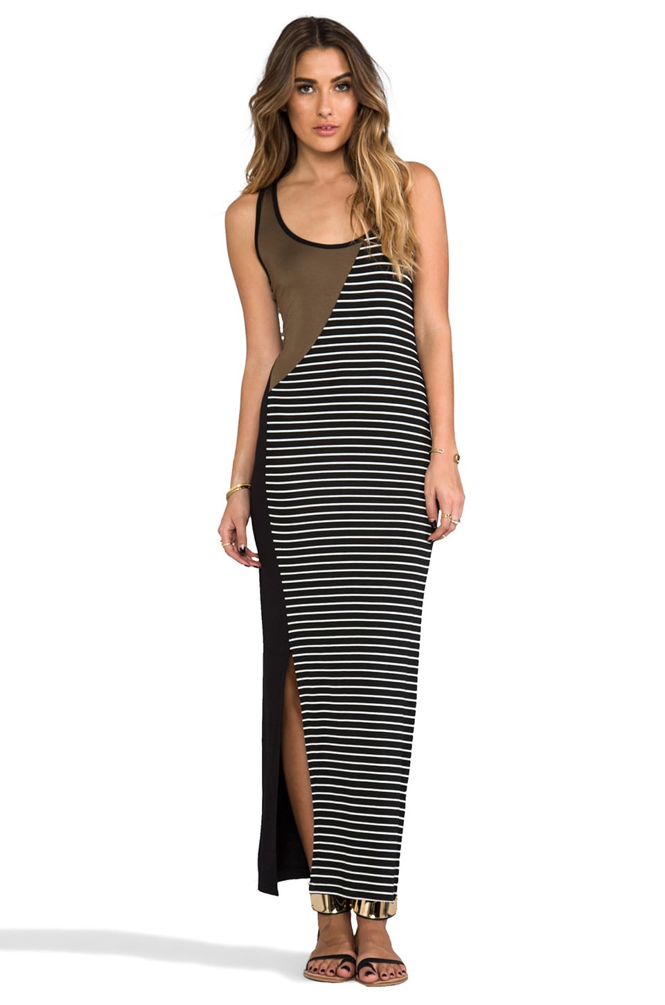 Kain Jong Dress in Black & Army & Stripe Combo