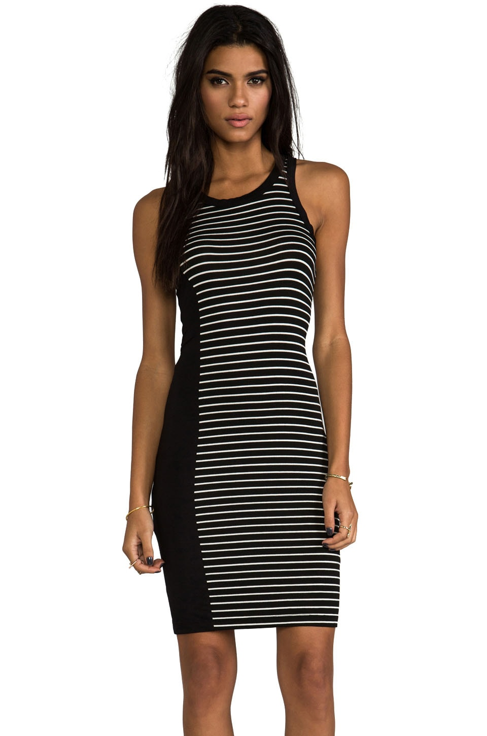 Kain Kidd Dress in Black with Black & White Stripe