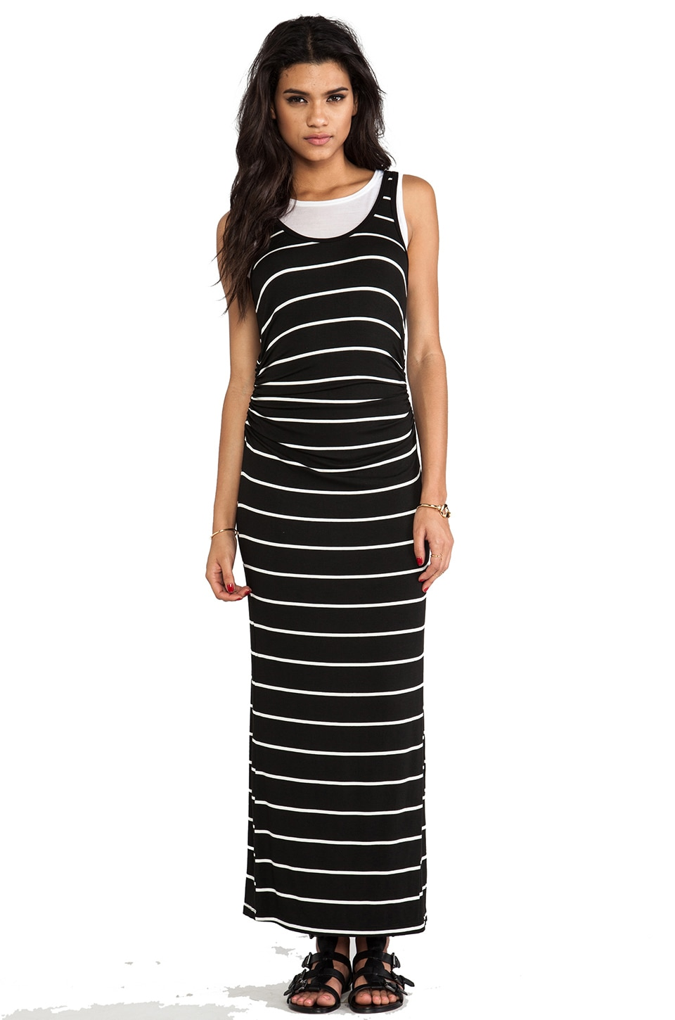 Kain Double Layered Astrid Maxi Dress in Black/White Stripe over White