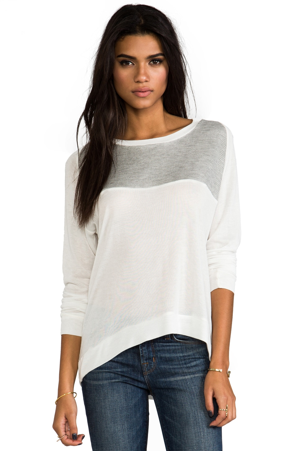 Kain Lamott Sweater in White & Grey Mesh
