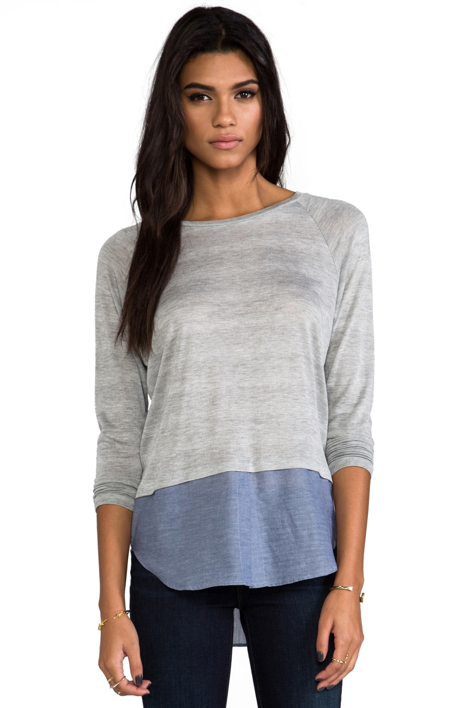 Kain Lamb Sweater in Heather Grey & Blue Chambray
