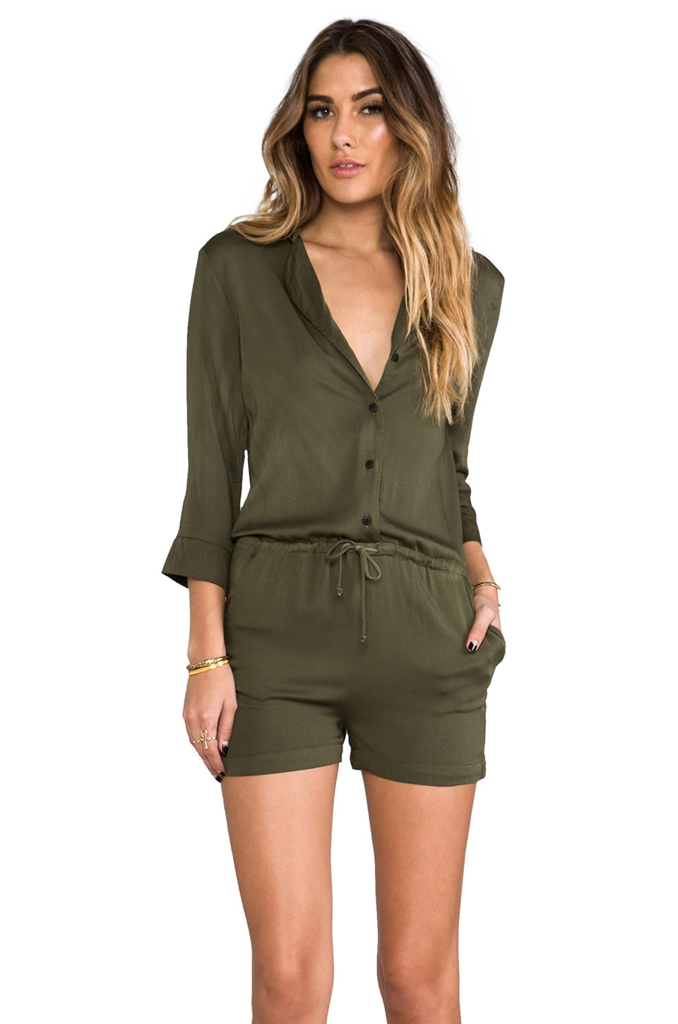 Kain Oates Romper in Army Green
