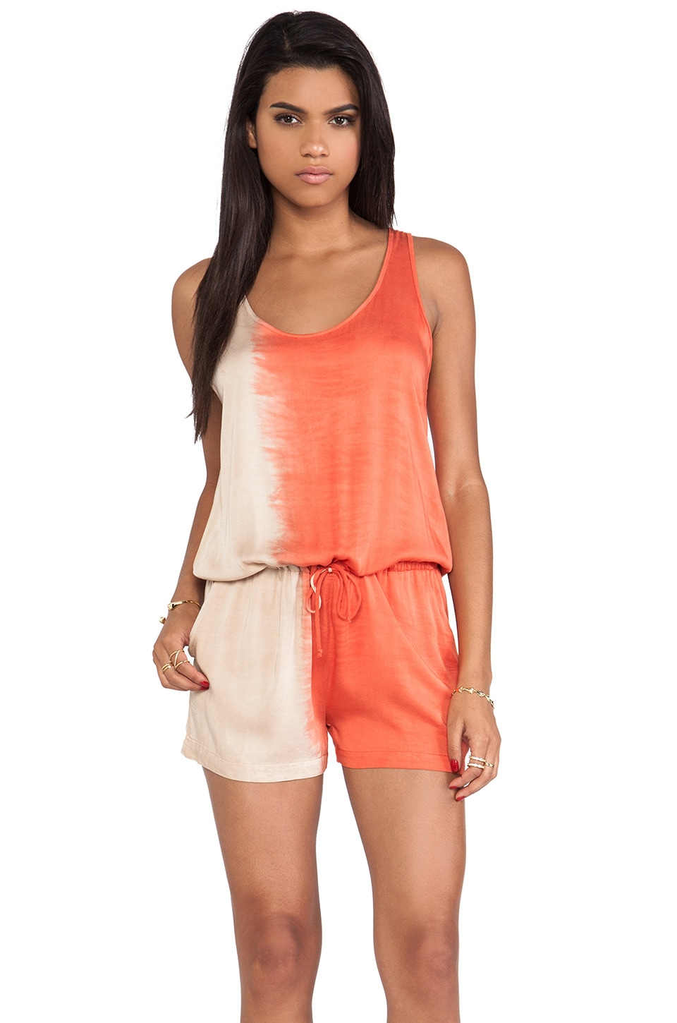 Kain Olympia Romper in Taupe to Sienna Orange