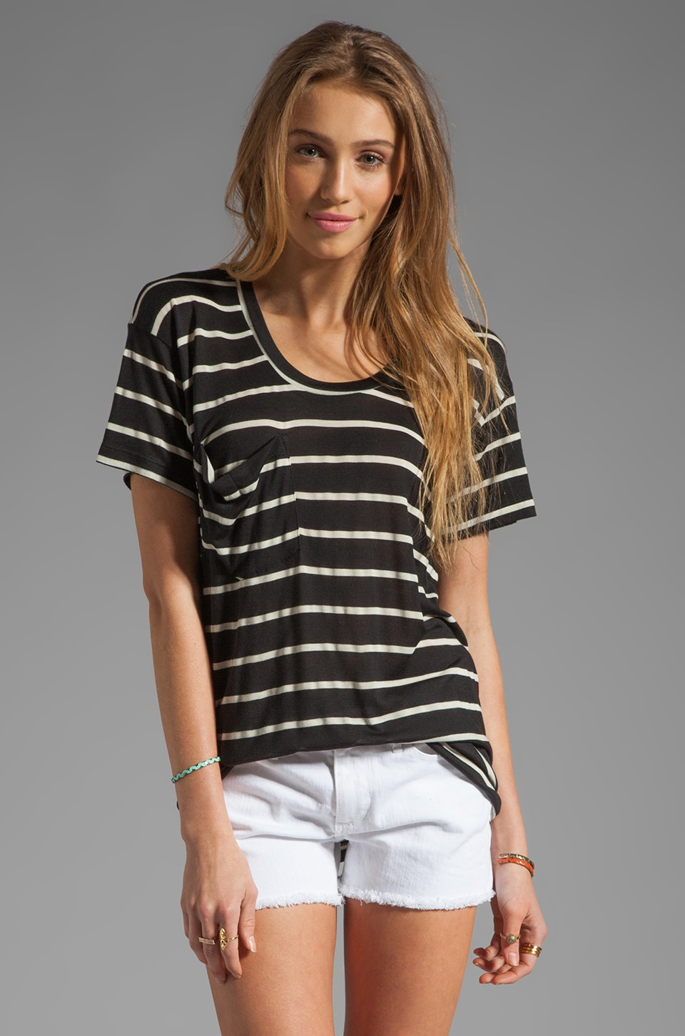 Kain Sheer Jersey Classic Pocket Tee in Black/White Stripe
