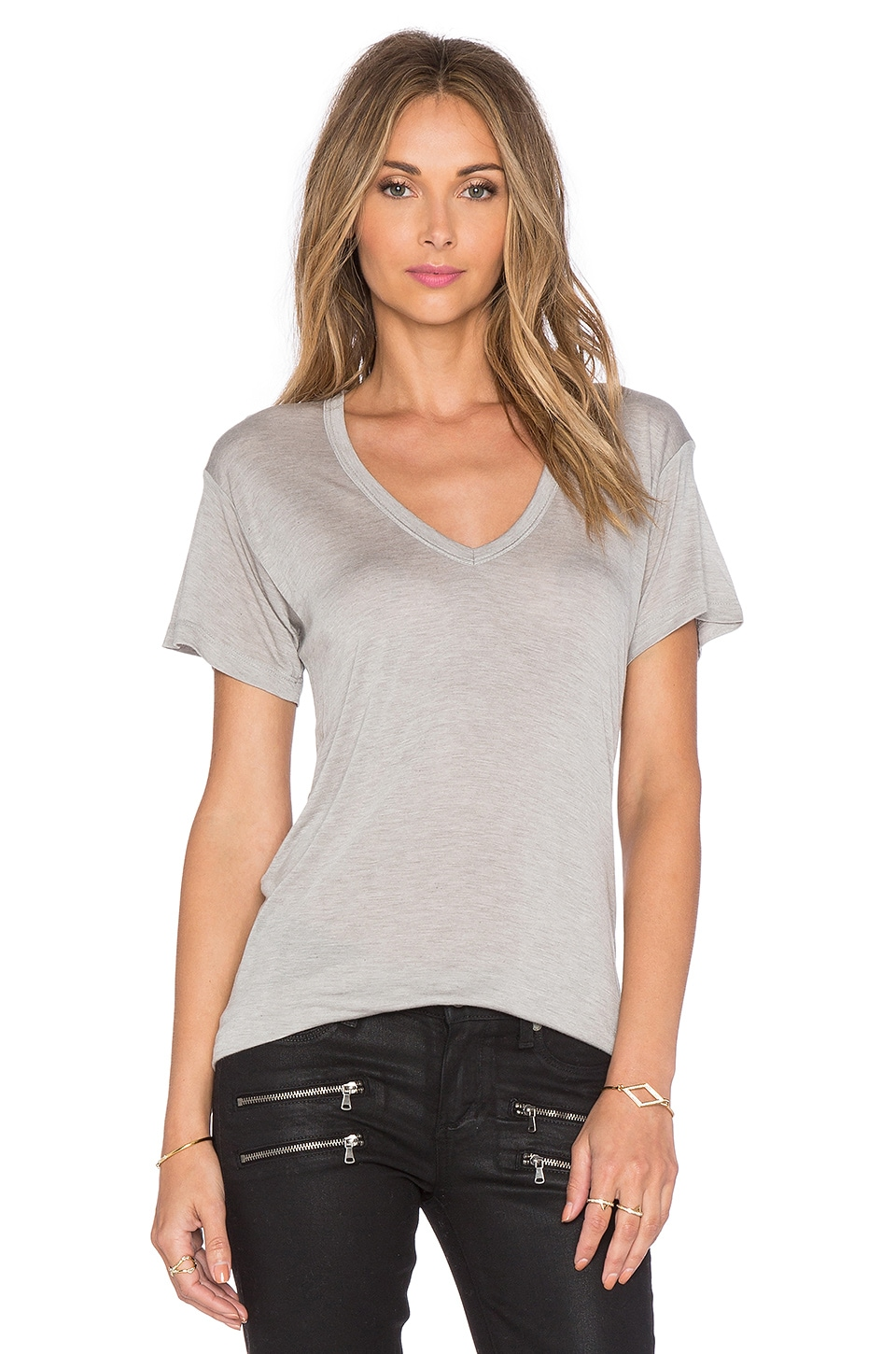 Kain Sheer Jersey Classic V Neck in Heather Grey