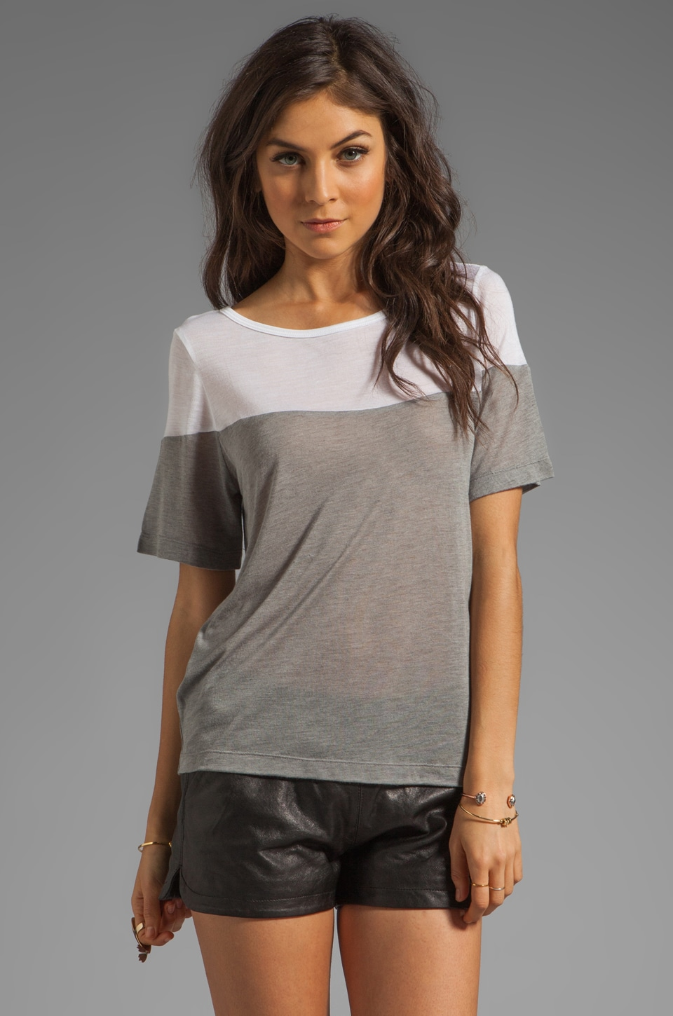 Kain Sheer Jersey Dayton Tee in White/Heather Grey Combo