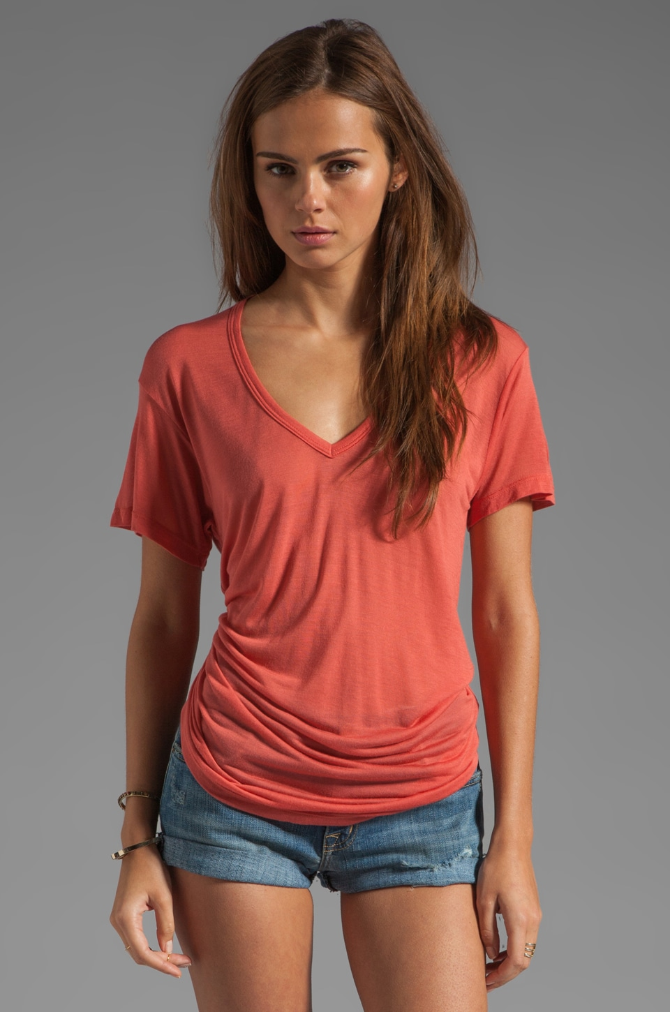 Kain Sheer Jersey Classic V Neck in Saffron