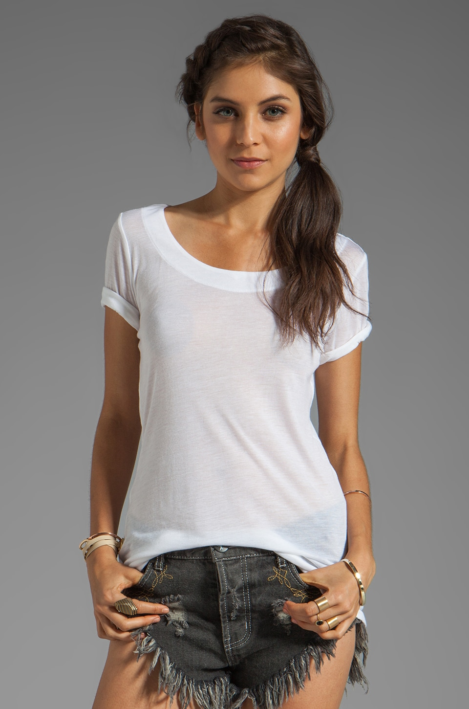 Kain Sheer Jersey Paloma Tee in White