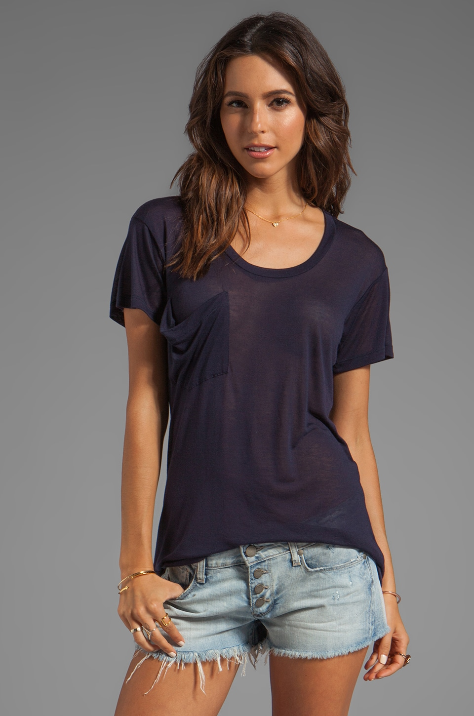 Kain Sheer Jersey Classic Pocket Tee in Navy