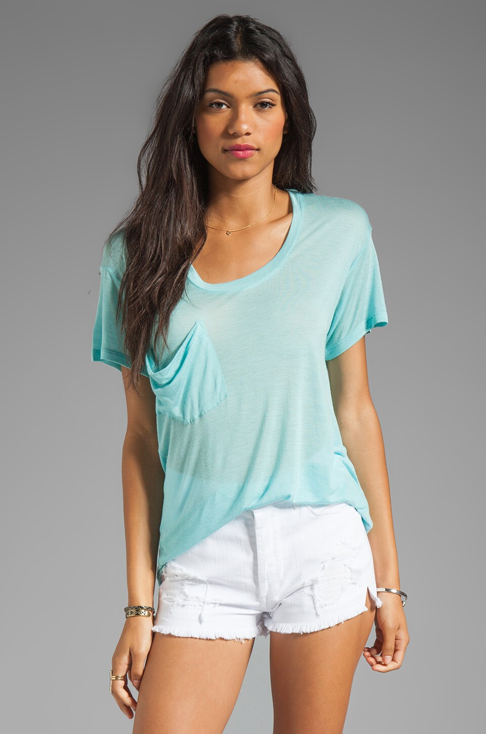 Kain Sheer Jersey Classic Pocket Tee in Turquoise