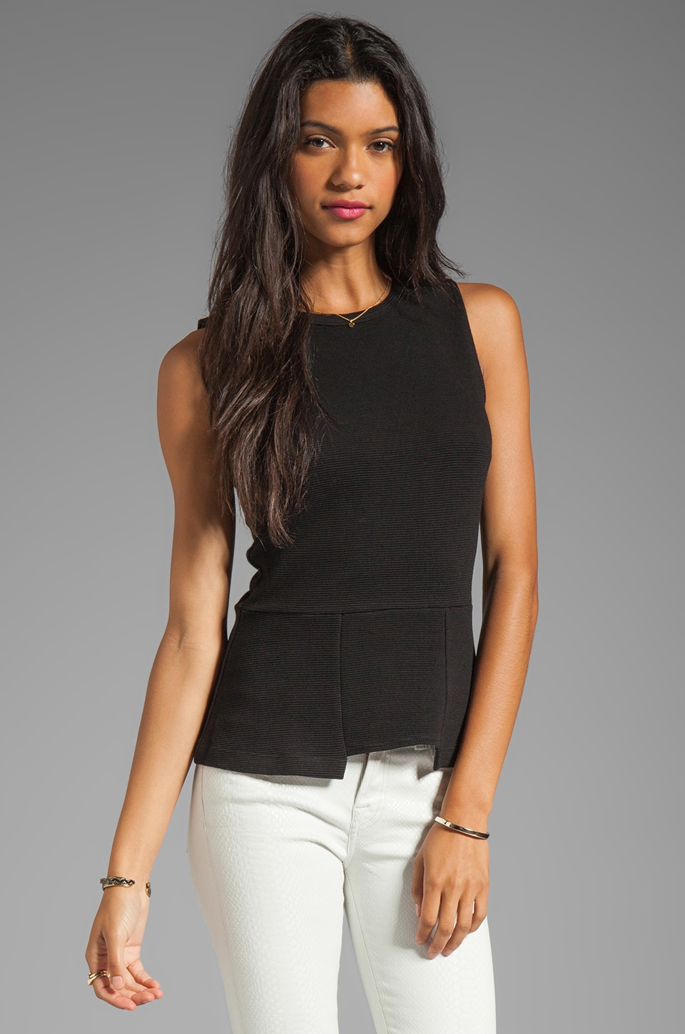 Kain Mini Rib Finch Top in Black