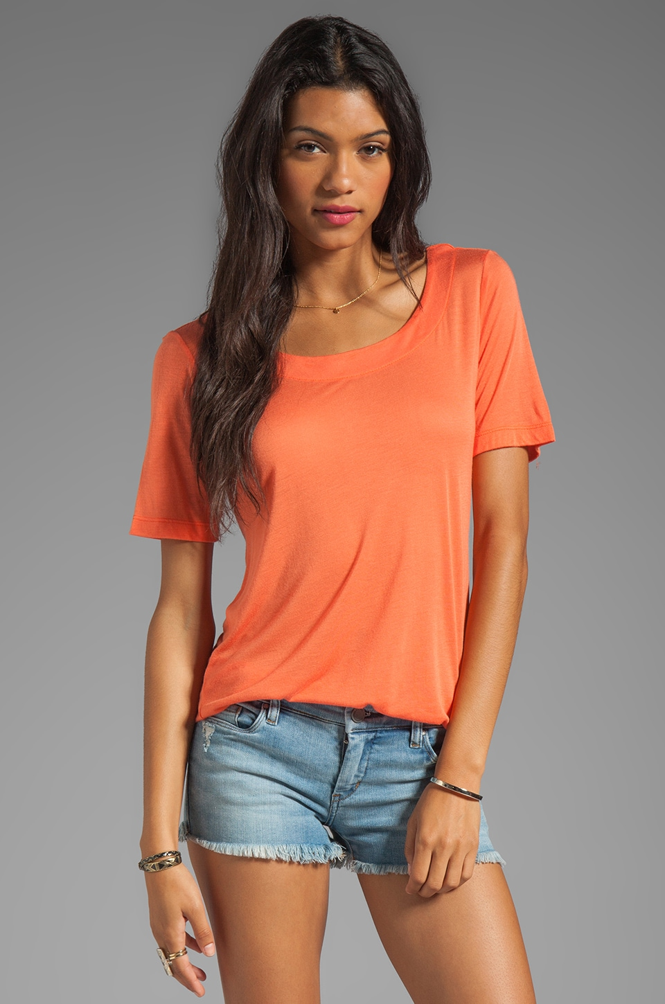 Kain Sheer Jersey Paloma Tee in Mandarin Orange