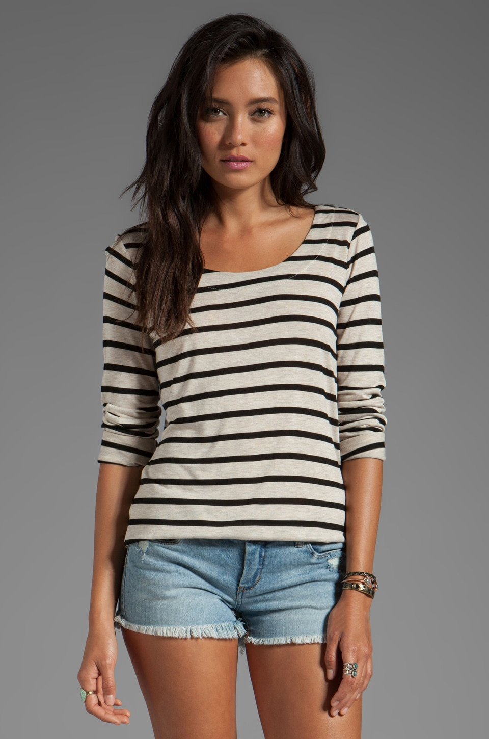 Kain Sheer Jersey Torrey Long Sleeve in Oatmeal/Black Stripe