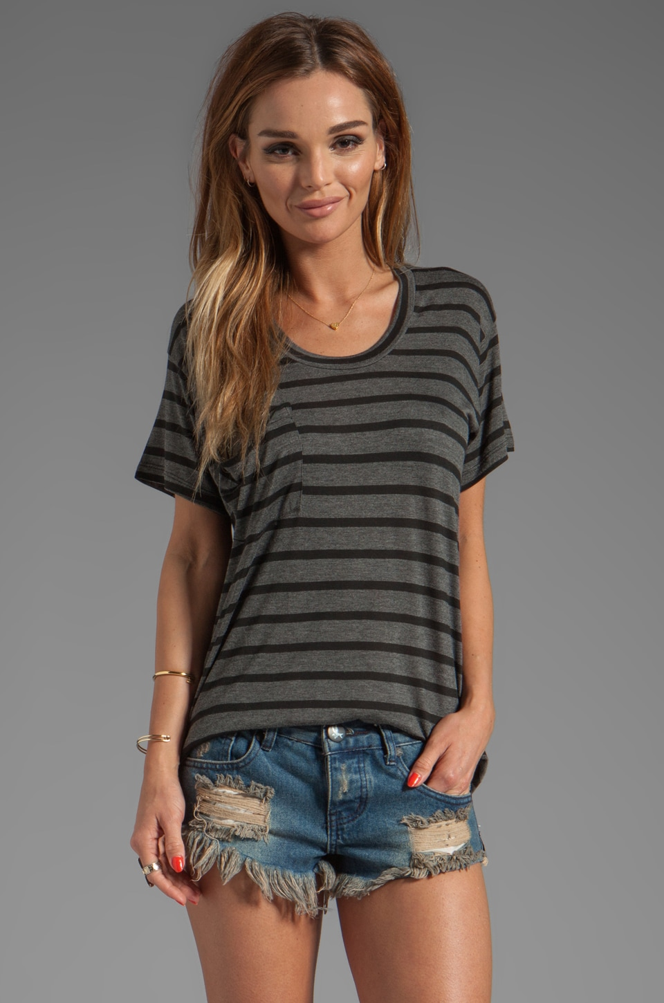 Kain Sheer Jersey Classic Pocket Tee in Black/Charcoal Stripe