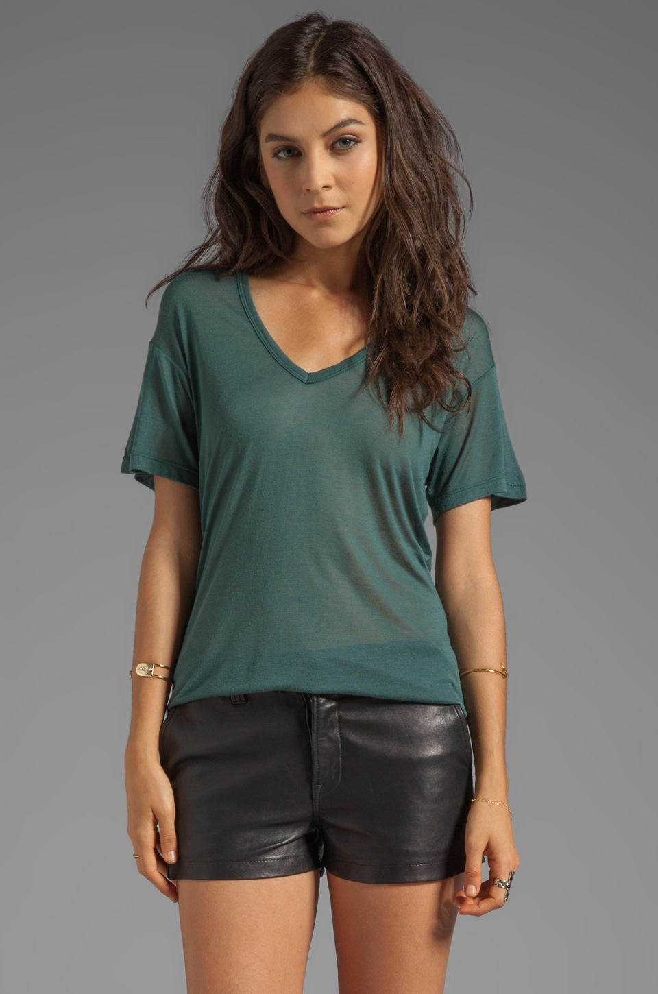 Kain Sheer Jersey Classic V Neck in Pine Green