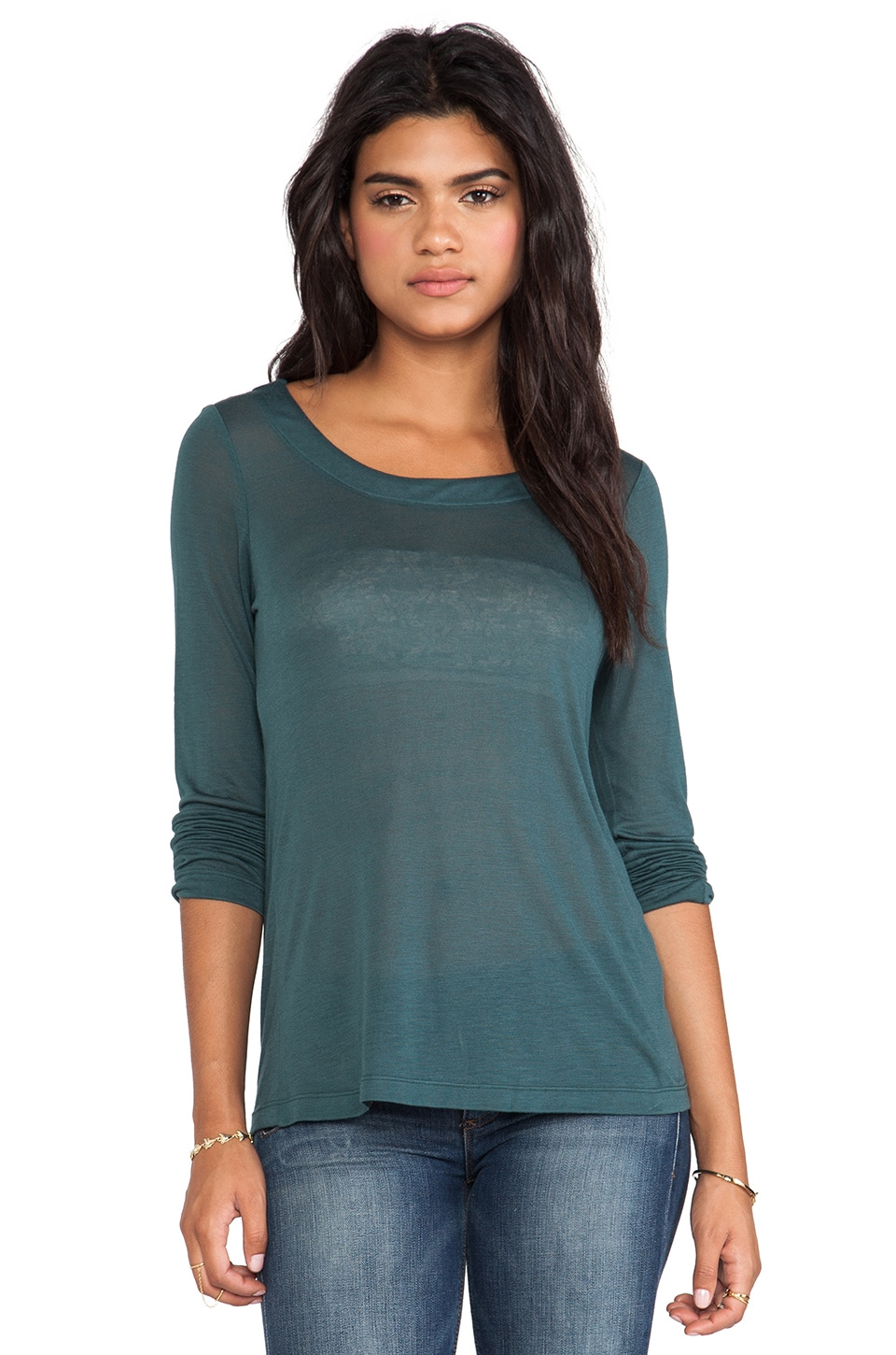 Kain Sheer Jersey Torrey Long Sleeve in Pine Green