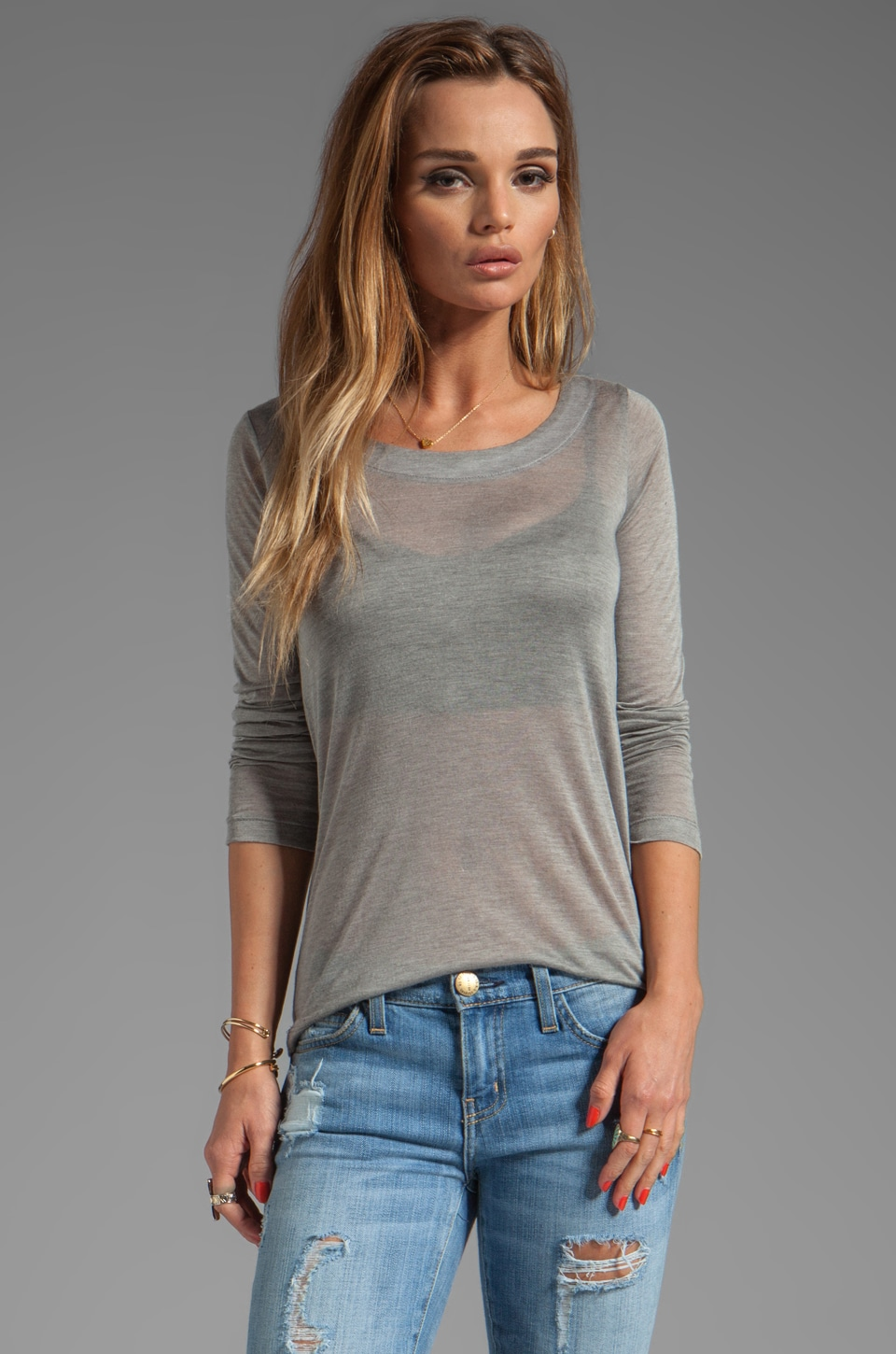 Kain Sheer Jersey Torrey Long Sleeve in Heather Grey