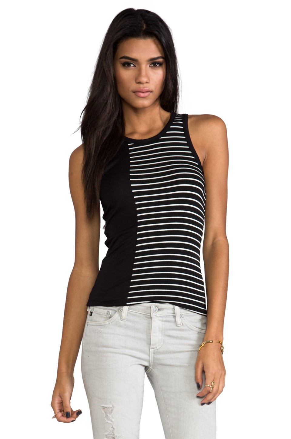 Kain Holland Tank in Black with Black & White Stripes