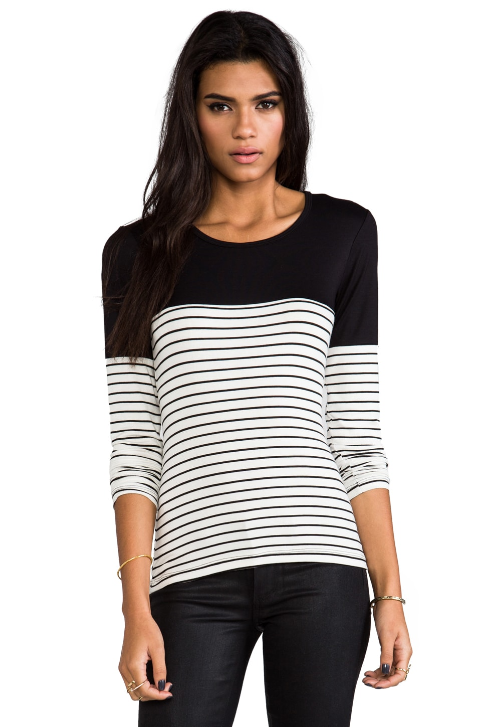 Kain Hunting Long Sleeve Tee in Black with White & Black Stripe