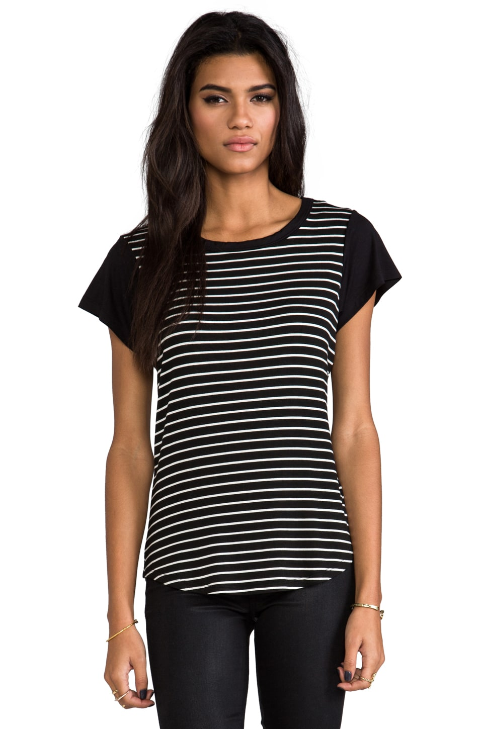 Kain Hurston Tee in Black with White & Black Stripes