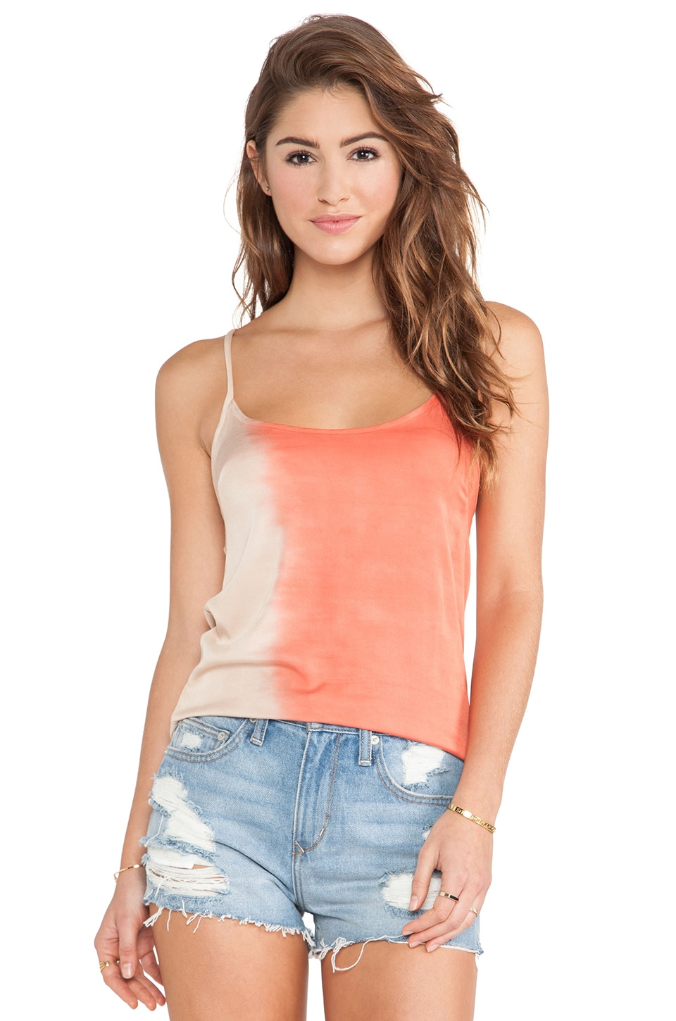 Kain Carey Tank in Taupe to Sienna Orange