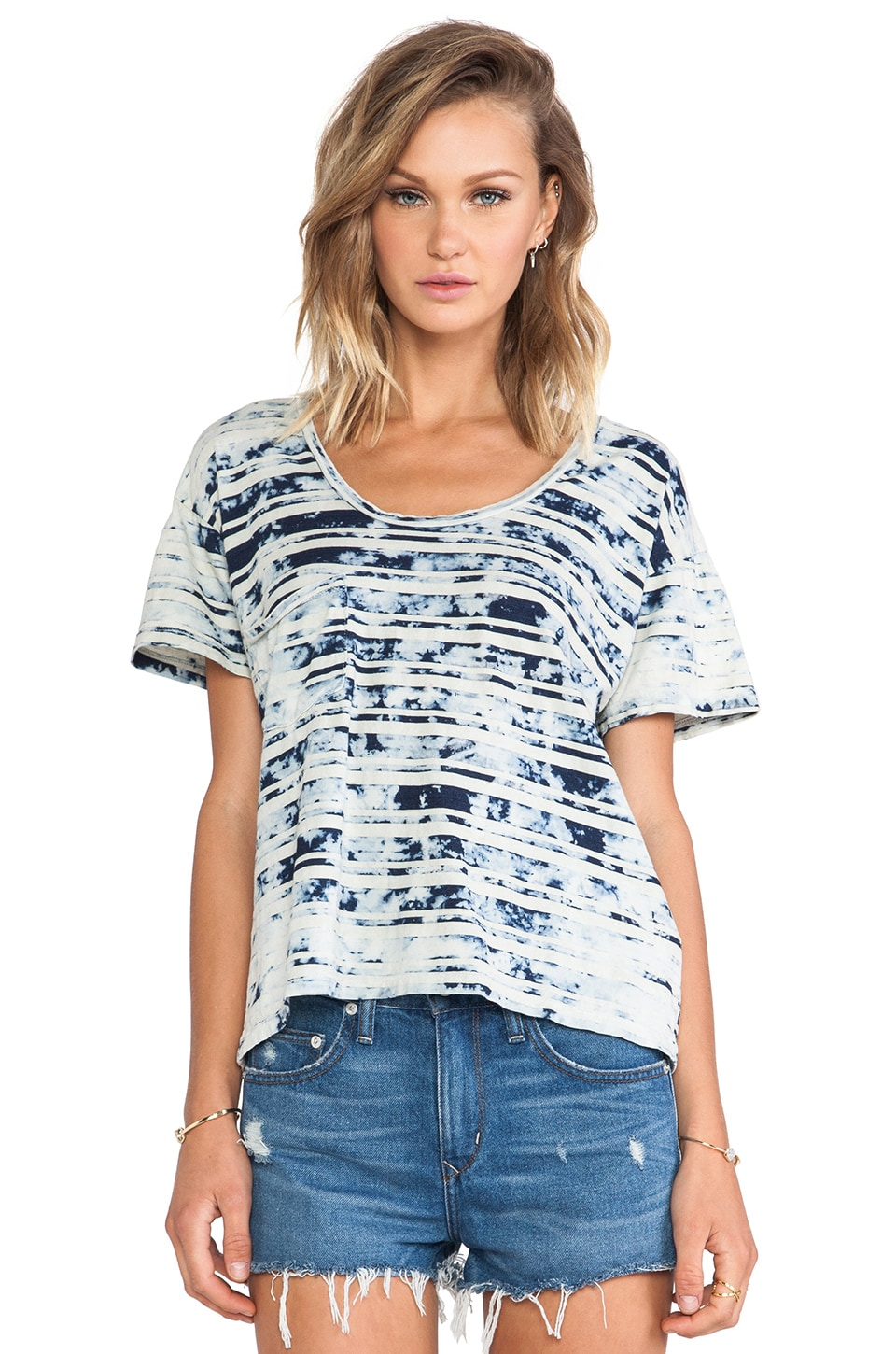 Kain Indigo Pocket Tee in Vintage Wash Indigo Stripe