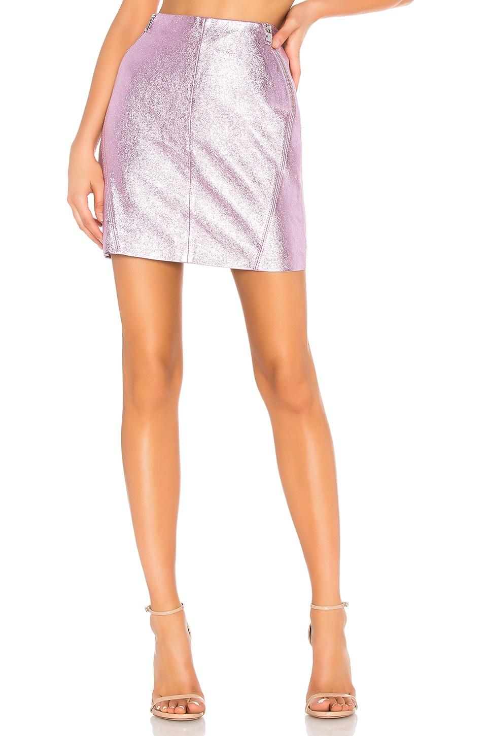 KARL X KAIA Leather Skirt in Pink Metallic